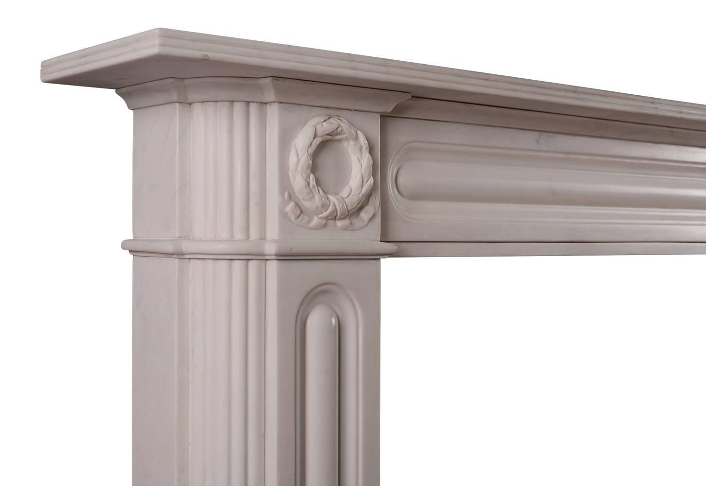 English regency marble fireplace mantel in white marble for Marble mantels for sale