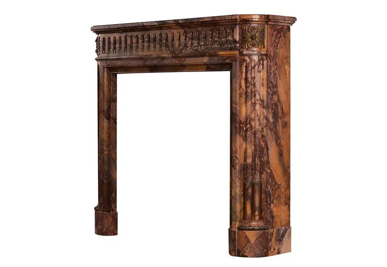 18th Century and Earlier Petite Louis XVI Style Marble Fireplace Mantel For Sale