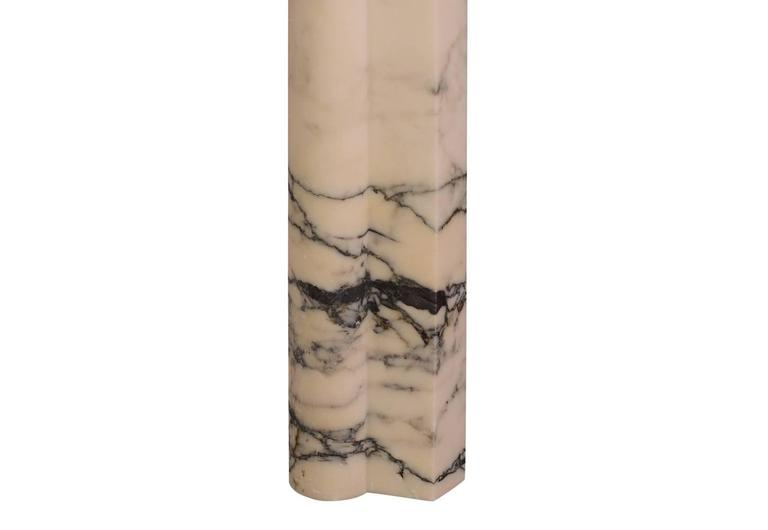 British Art Deco Fireplace Mantel in Italian Pavonazzo Marble For Sale