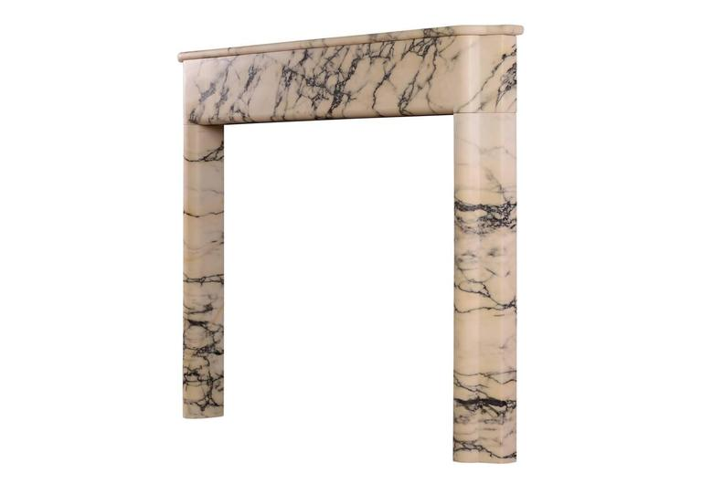 20th Century Art Deco Fireplace Mantel in Italian Pavonazzo Marble For Sale