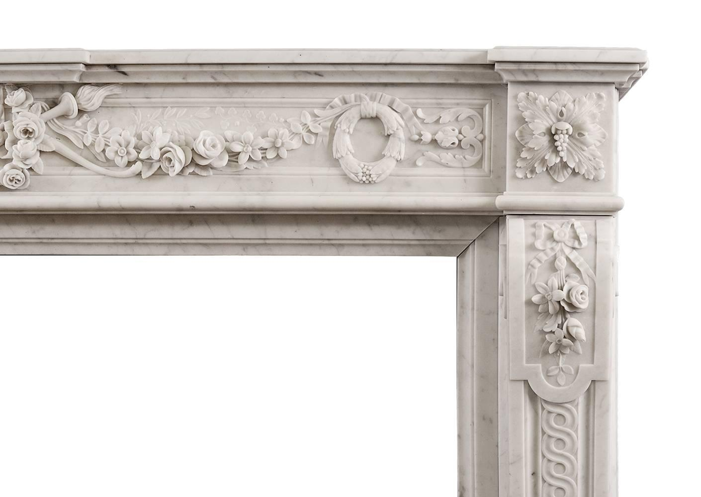 Quality Carrara French Louis Xvi Style Fireplace Mantel Chimneypiece For Sale At 1stdibs