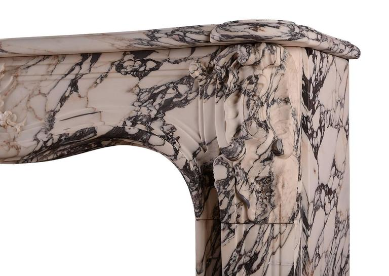 French Louis XV Breche Violette Antique Marble Fireplace Mantel For Sale