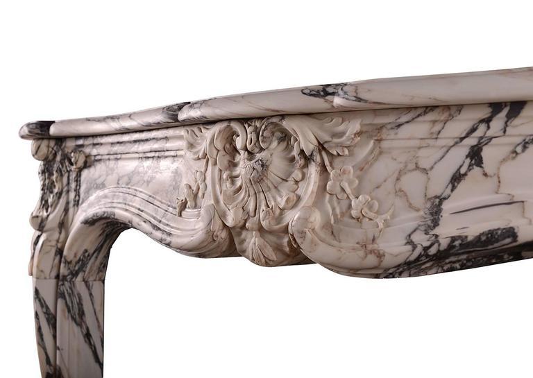 18th Century Louis XV Breche Violette Antique Marble Fireplace Mantel For Sale