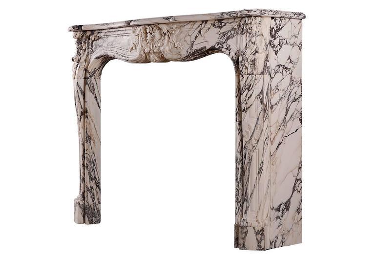 Louis XV Breche Violette Antique Marble Fireplace Mantel For Sale 1