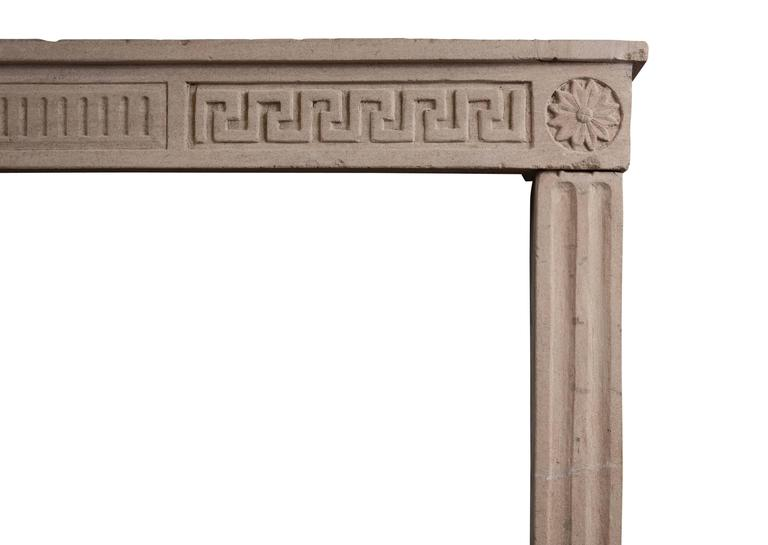 French Rustic Limestone Louis XVI Fireplace For Sale