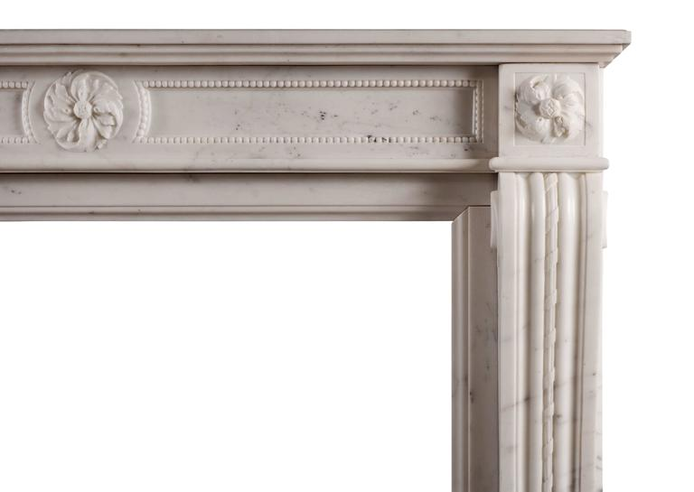 French Statuary Marble Antique Fireplace in the Louis XVI Manner For Sale
