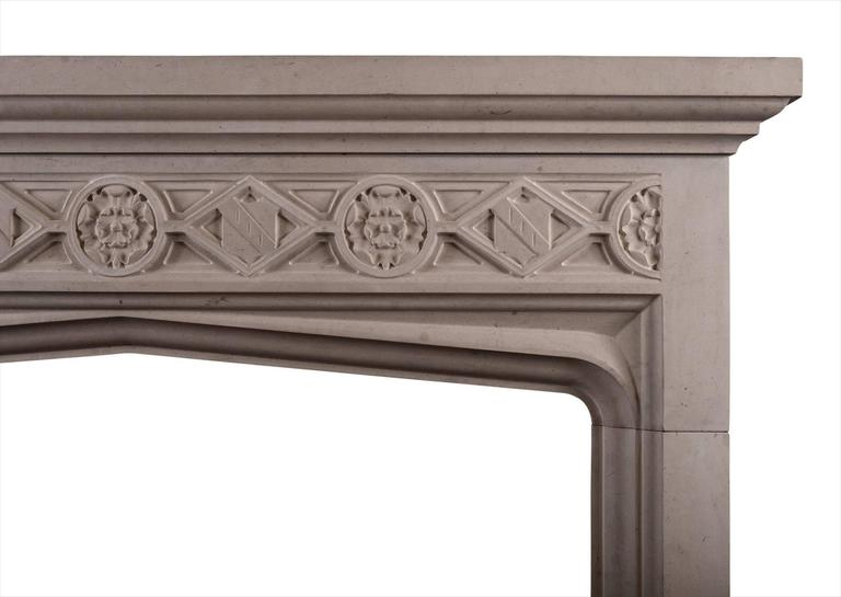 English Gothic Style Limestone Fireplace For Sale