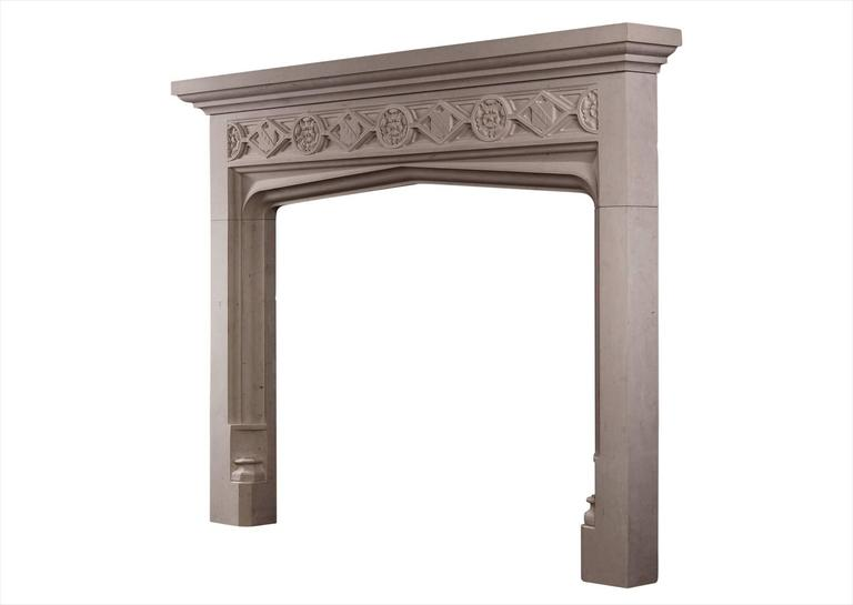 Gothic Style Limestone Fireplace In Excellent Condition For Sale In London, GB