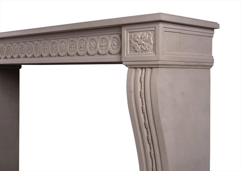 Carved Louis XVI Style Limestone Fireplace In Excellent Condition For Sale In London, GB