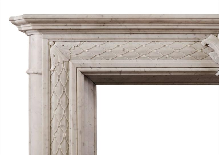 Other 19th Century Statuary White Marble Fireplace For Sale