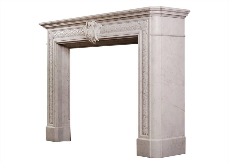 19th Century Statuary White Marble Fireplace For Sale 1