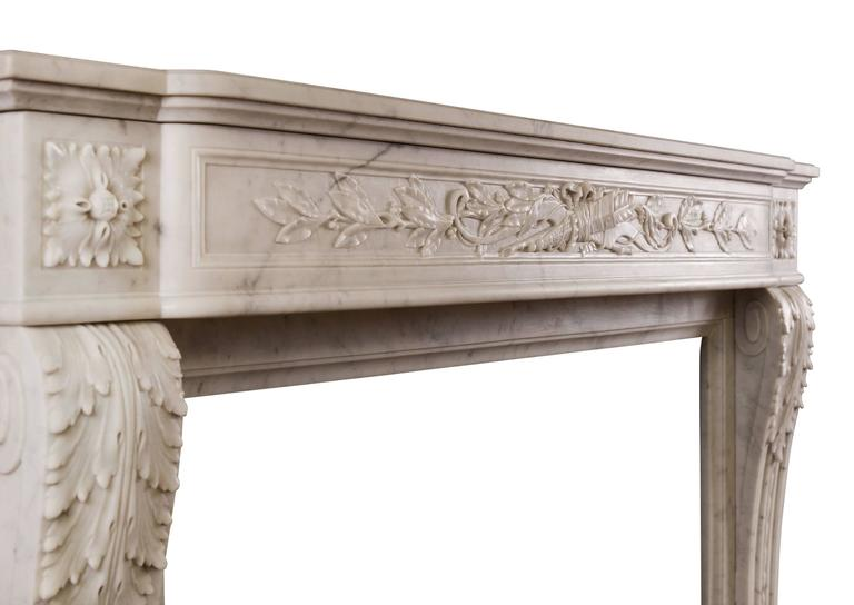 Carrara Marble 19th Century French Louis XVI Style Fireplace For Sale