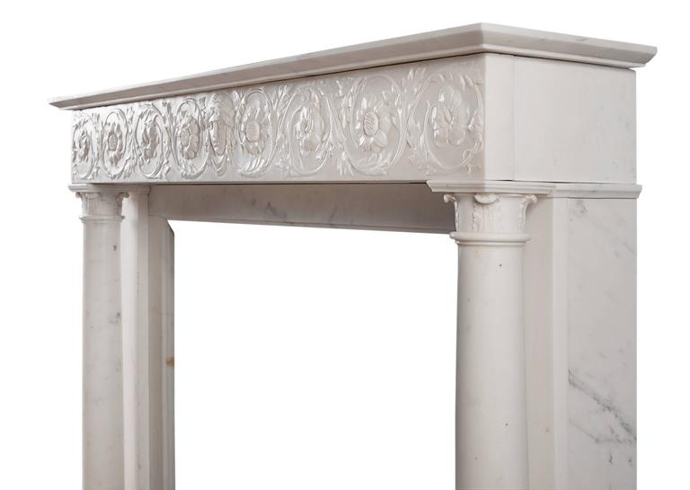 Italian 19th Century Statuary Marble Antique Fireplace For Sale