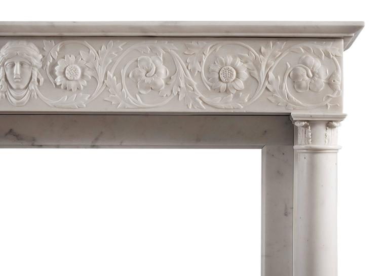 19th Century Statuary Marble Antique Fireplace In Excellent Condition For Sale In London, GB
