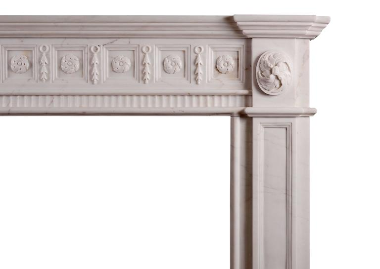 18th Century Irish Georgian Style White Marble Fireplace For Sale