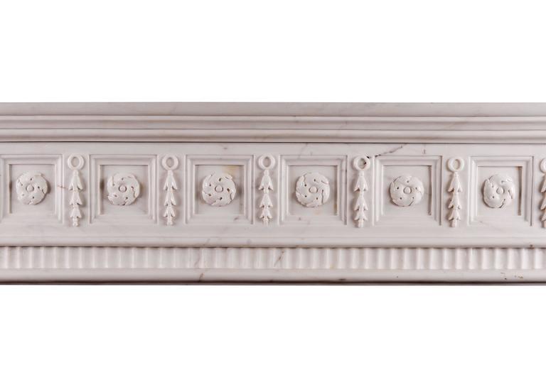 Irish Georgian Style White Marble Fireplace For Sale 1