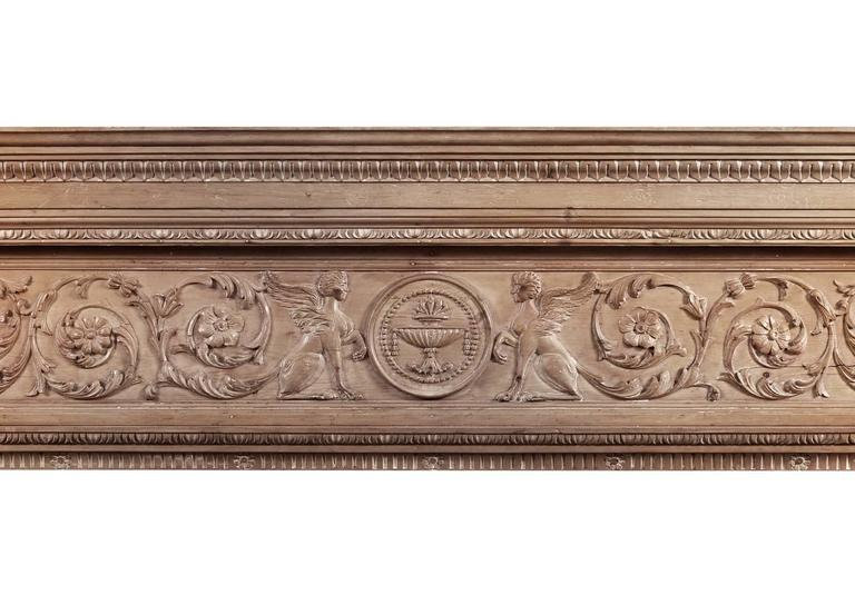 19th Century Imposing Period English Antique Regency Pine Fireplace For Sale