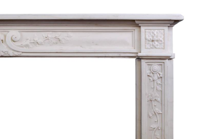 Late 18th Century Louis XVI Statuary Marble Fireplace In Excellent Condition For Sale In London, GB
