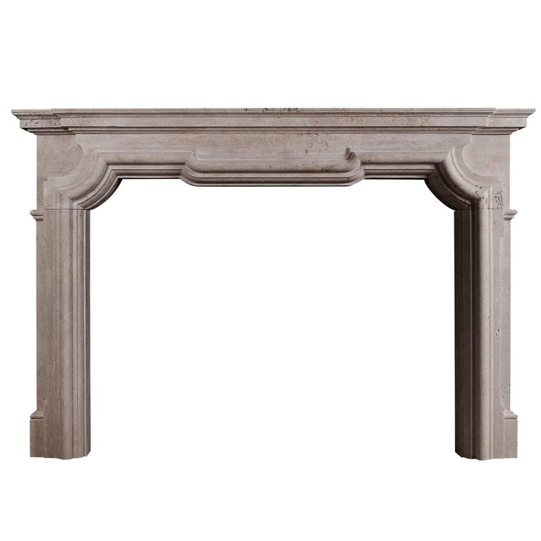 Italian Fireplace in White Travertine For Sale