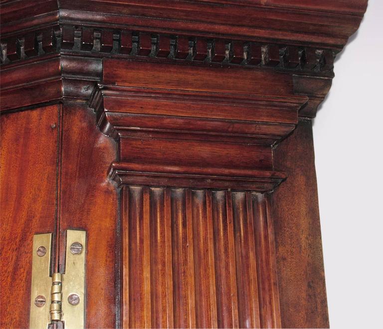 George III Antique Mid-18th Century Mahogany Corner Cupboard For Sale