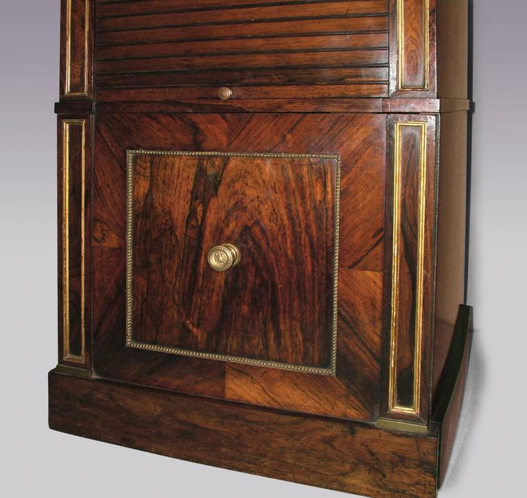 Regency 19th Century Rosewood Tambour Bedside Cabinet For Sale