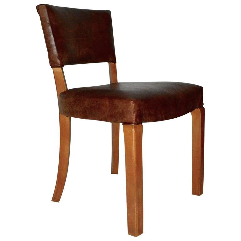 20th Century Art Deco Leather Dining Chairs For Sale At