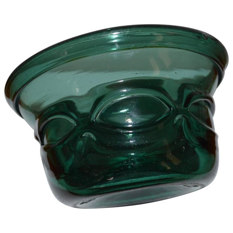 Early 20th Century Arts and Crafts Green Handblown Glass Bowl In Excellent Condition For Sale In Copenhagen, K