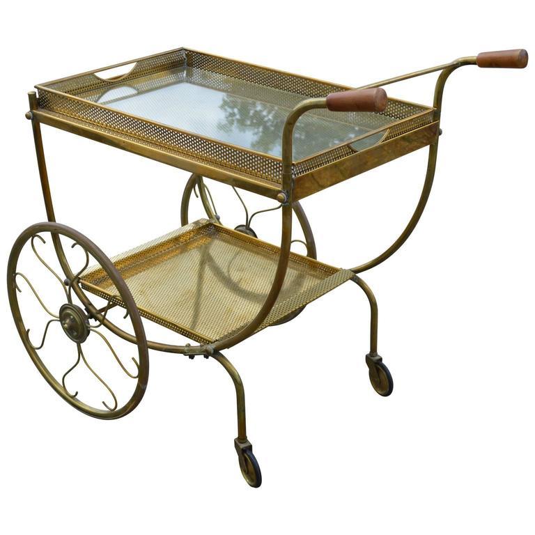 Mid-Century Modern Brass Bar Cart In Good Condition For Sale In Copenhagen, K