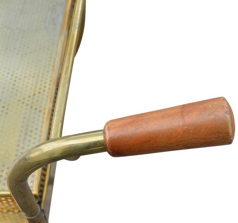 Mid-Century Modern Brass Bar Cart For Sale 1