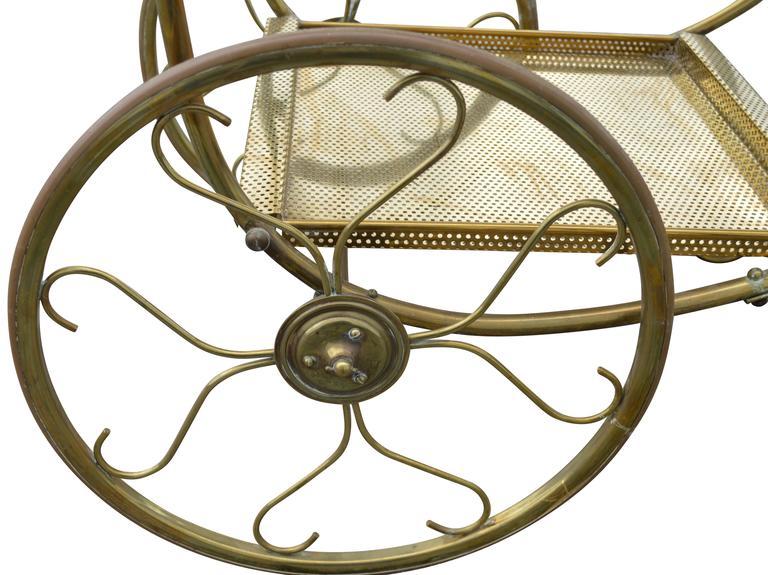 Mid-Century Modern Brass Bar Cart For Sale 2
