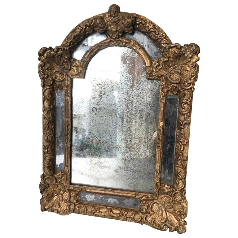18th Century Baroque Repousse Mirror with Cherubs