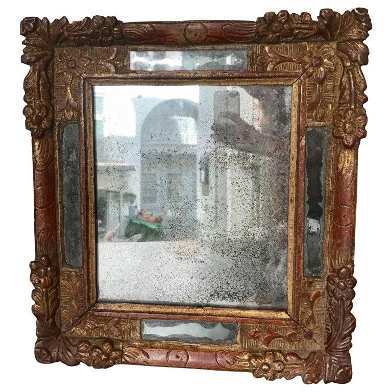 18th Century Baroque Repousse Mirror with Original Mercury Mirror
