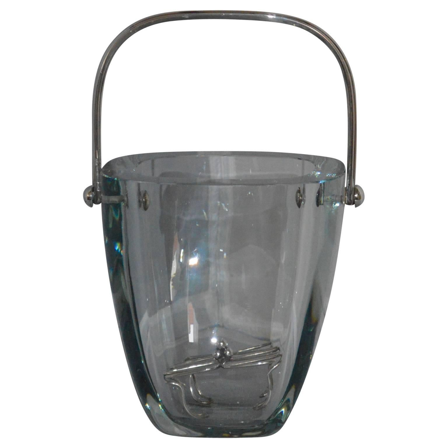 Glass and Sterling Silver Ice Bucket and Stand, Strombergshyttan, Sweden, 1970s