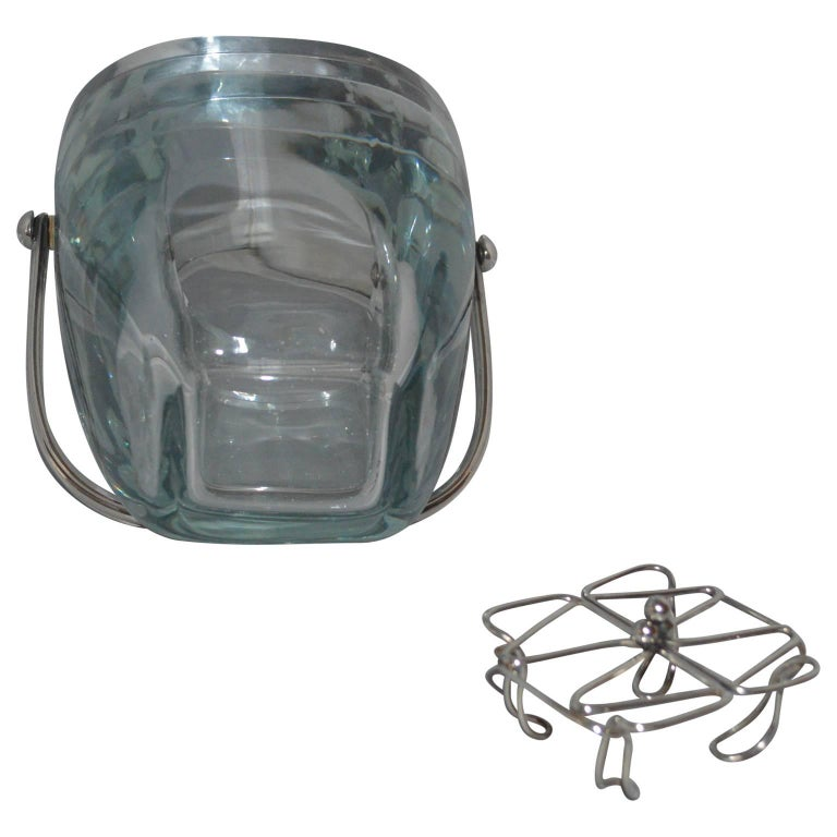 Glass and Sterling Silver Ice Bucket and Stand, Strombergshyttan, Sweden, 1970s For Sale 1