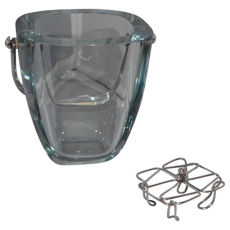 Glass and Sterling Silver Ice Bucket and Stand, Strombergshyttan, Sweden, 1970s For Sale 2