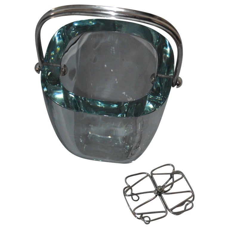 Scandinavian Modern Glass and Sterling Silver Ice Bucket and Stand, Strombergshyttan, Sweden, 1970s For Sale