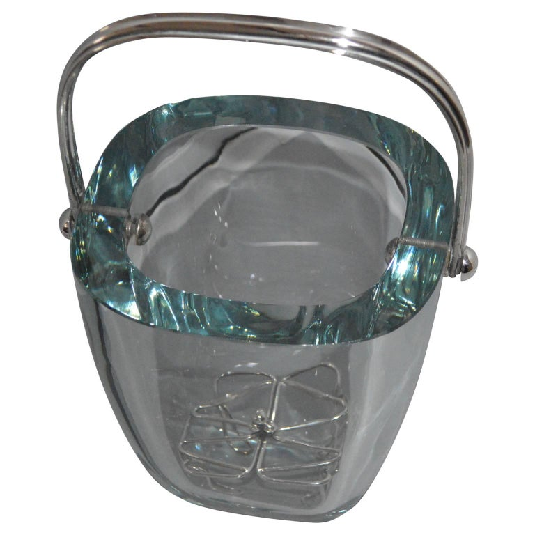 Glass and sterling silver ice bucket and stand by Strombergshyttan, Sweden, 1970s.