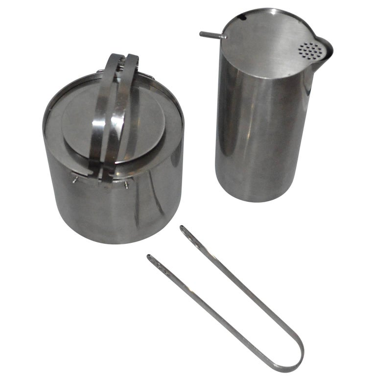 Brushed Arne Jacobsen for Stelton Pitcher, Ice Bucket And Tongs