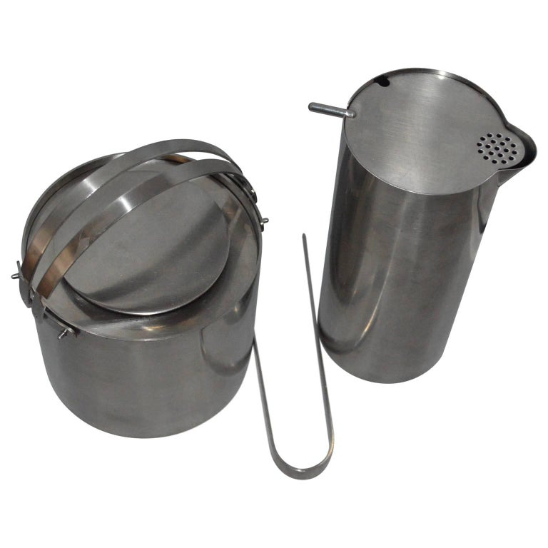 20th Century Arne Jacobsen for Stelton Pitcher, Ice Bucket And Tongs