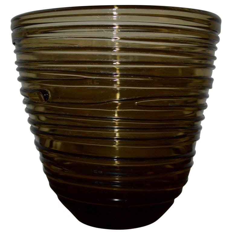 Hand-Crafted Italian Mid-Century Modern Glass Vase For Sale