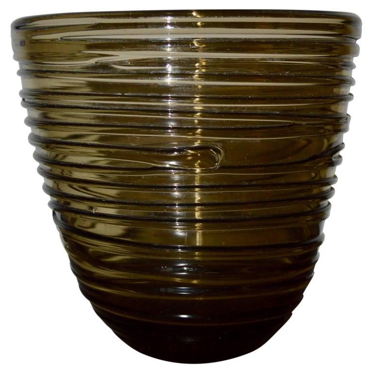 Smoked rifled brown tinted glass vase.