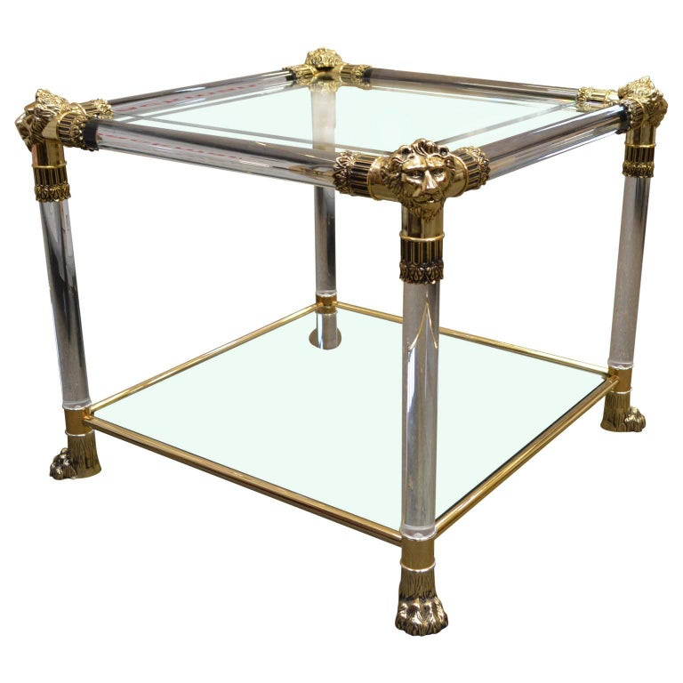 Versace Lucite and Glass Top Side Table with Lion Heads and Feet of Brass