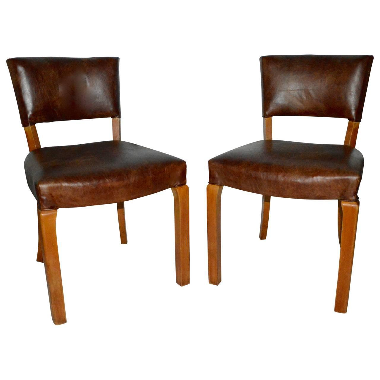 20th Century Art Deco Leather Dining Chairs For Sale At 1stdibs