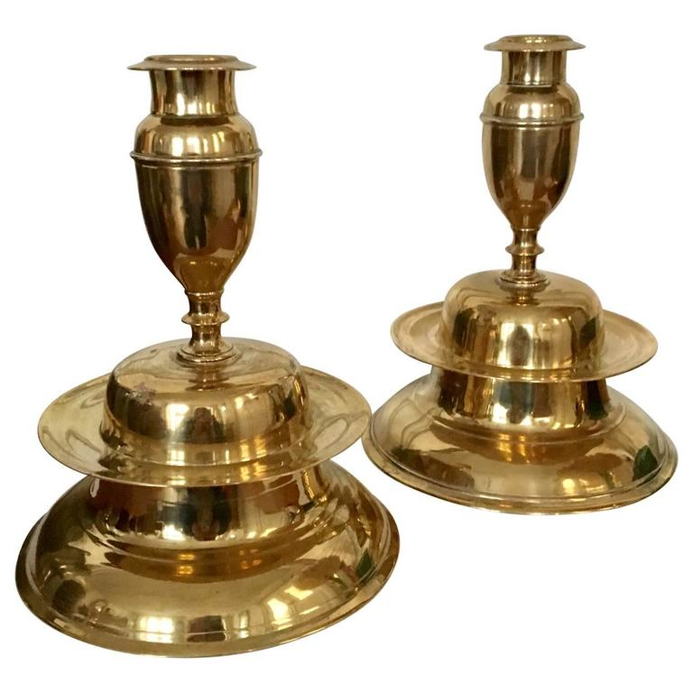 17th Century Pair of Brass Bell Candleholders