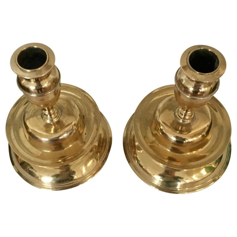18th Century and Earlier 17th Century Pair of Brass Bell Candleholders For Sale