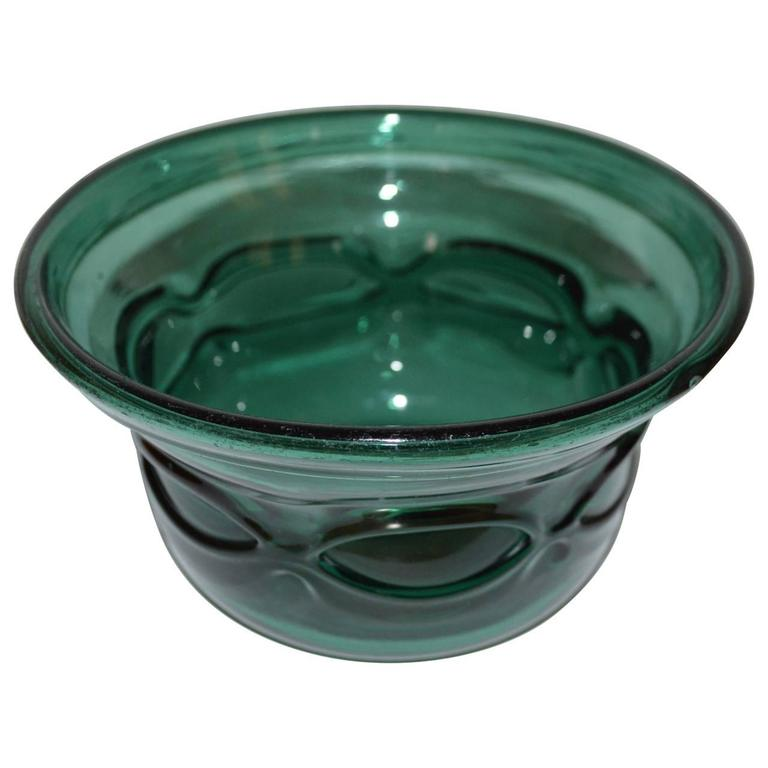 Danish Early 20th Century Arts and Crafts Green Handblown Glass Bowl For Sale