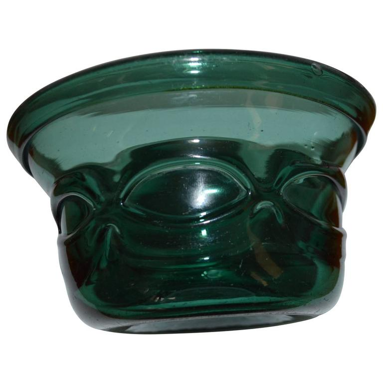 Hand-Crafted Early 20th Century Arts and Crafts Green Handblown Glass Bowl For Sale