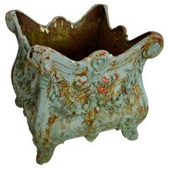 19th Century Square Cast Iron Planter