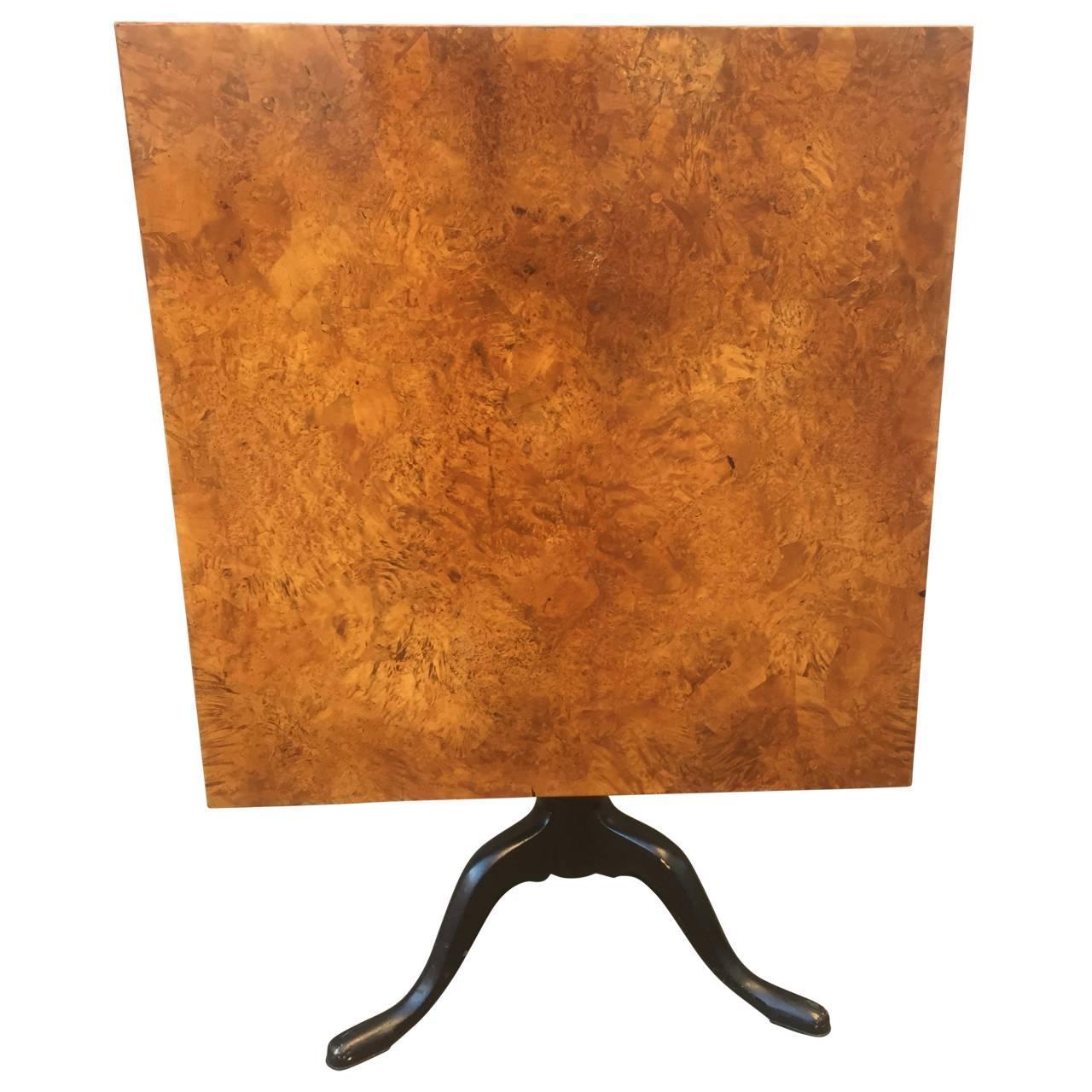 19th Century Swedish Burl-wood Tilt-Top Table