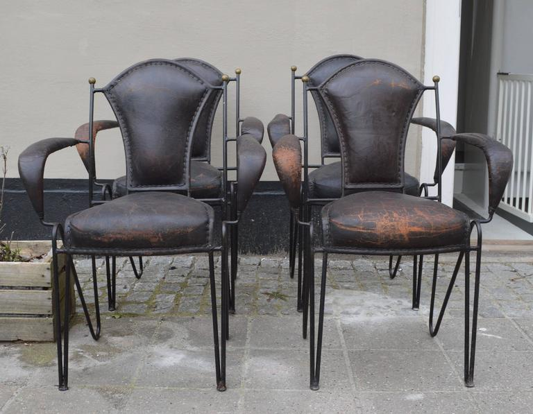 Set Of Four French Iron And Leather Armchairs For Sale At